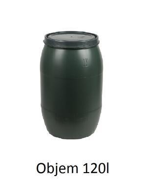 Plastový sud 120l s víkem - zelený - 1