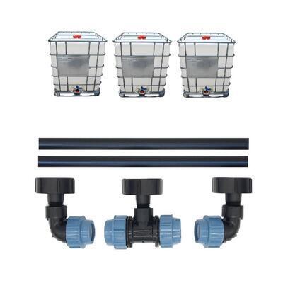 Profi propojení: 3 IBC nádrže bez zahradního kohoutu - propojovací sada - 1