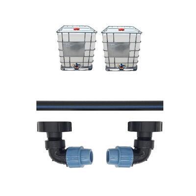 Profi propojení: 2 IBC nádrže bez zahradního kohoutu - propojovací sada - 1