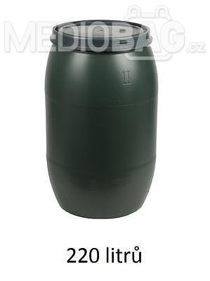 Plastový sud 220l s víkem - zelený