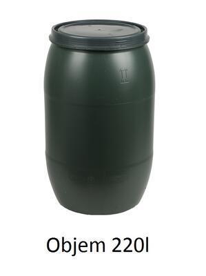 Plastový sud 220l s víkem - zelený - 1