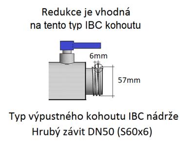 """IBC redukce DN50 - zahradní kohout 3/4"""" - 2"""