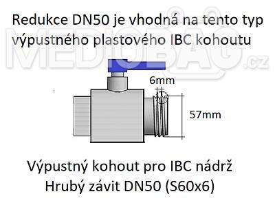 """Redukce (adaptér) na IBC nádrž DN50 - vnější závit jemný 1/2"""" - 2"""