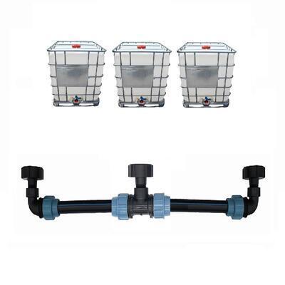 Profi propojení: 3 IBC nádrže bez zahradního kohoutu - propojovací sada - 3