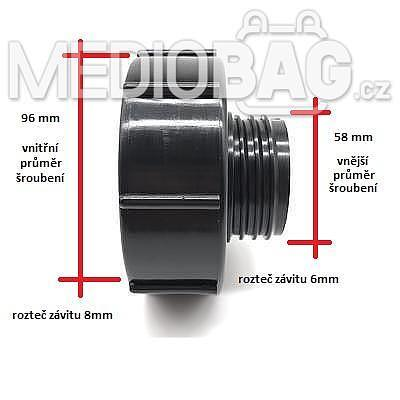 Redukce (adaptér) na IBC nádrž DN80 - DN50 hrubý závit (S60x6) - 3