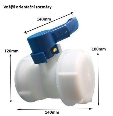 Výpustný kohout na IBC nádrž - rozměr 100mm. - 3