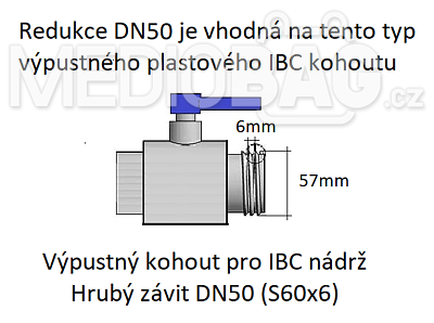 "Redukce (adaptér) na IBC nádrž DN50 - nástavec na hadici 1-1/4"" (hadičník) - 3"