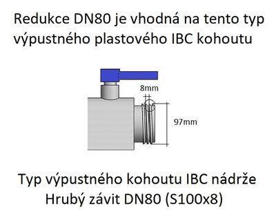 Redukce na IBC nádrž DN80 - DN50 hrubý závit (S60x6) - 6