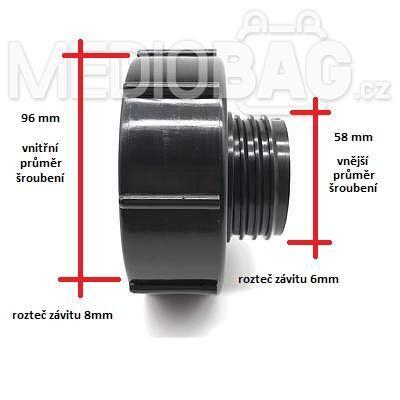 Redukce (adaptér) na IBC nádrž DN80 - DN50 hrubý závit (S60x6) - 7